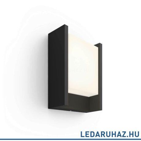 Philips Hue Fuzo kültéri fali LED lámpa, IP44, 2700K melegfehér, 1150lm, 15W, fekete, 1744630P7