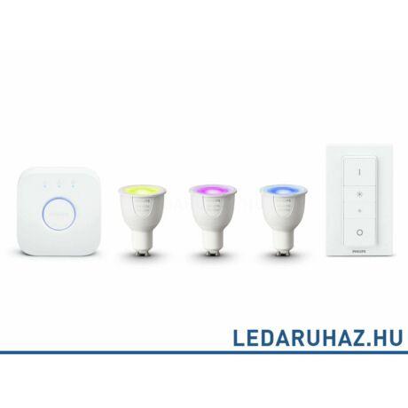 Philips Hue GU10 LED kezdőcsomag 3 db RGBW 6.5=35W GU10 Smart LED fényforrás, 250 lumen + Bridge + DimSwitch - 8718696748930