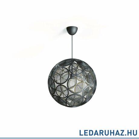 Philips Ring fekete függesztett lámpa, E27 foglalattal, max. 60W, 50,3 cm átmérő, 4091330PN