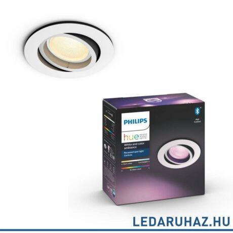 PHILIPS Hue Centura fehér LED mennyezeti spot, kör, RGBW, GU10 fényforrással, 350 lumen, 5045131P7, Bluetooth+Zigbee