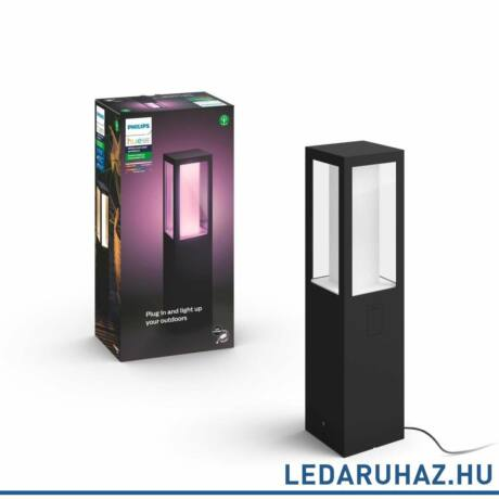 Philips Hue Impress kültéri leszúrható LED lámpa tápegységgel, IP44, RGBW, 8W, 1200lm, fekete, White and Color Ambiance, 1745430P7