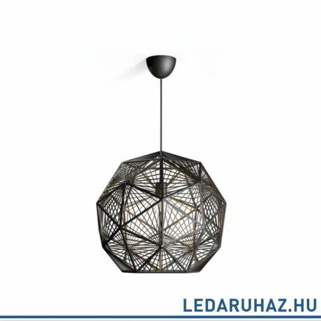 Philips Mohair fekete függesztett lámpa, E27 foglalattal, max. 60W, 52 cm átmérő, 4088730PN