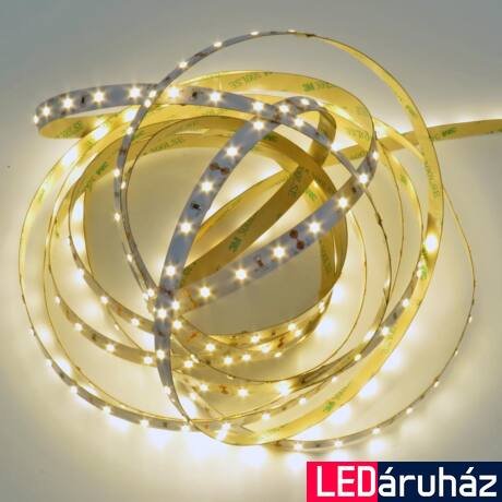 Melegfehér SMD LED szalag 12V 2835, beltéri 60 LED/m, 300 lm/m, 4.8W, 3000K, 2 év garancia