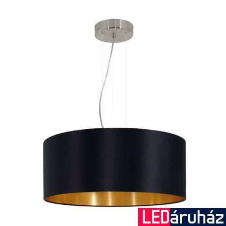 EGLO 31605 MASERLO Textil függesztett lámpa, 53cm, fekete, 3 db. E27 foglalattal + ajándék LED fényforrás