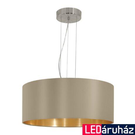 EGLO 31607 MASERLO Textil függesztett lámpa, 53cm, szürkésbarna, 3 db. E27 foglalattal + ajándék LED fényforrás