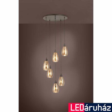 EGLO 39508 SIRACUSA függesztett lámpa, 50cm átmérő, barna, 6 db. E27 foglalattal, max. 6x60W + ajándék LED fényforrás