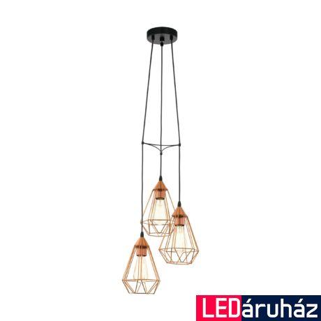 EGLO 94196 TARBES Vintage hármas függesztett lámpa, 31cm, réz, 3 db. E27 foglalattal + ajándék LED fényforrás