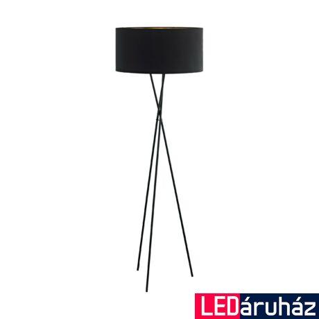 EGLO 95541 FONDACHELLI Állólámpa, textil fekete, búrával, 151,5cm, E27 foglalat + ajándék Access távirányítós(11807) LED fényforrás