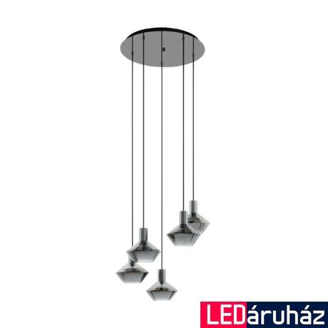 EGLO 97425 PONZANO Füstüveg/fekete, függesztett lámpa, 5 db. E27 foglalattal, 59cm átmérő, max. 5x60W + ajándék LED fényforrás