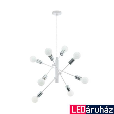 EGLO 98017 GRADOLI Fehér/króm függesztett lámpa, 8 db. E27 foglalattal, 71cm átmérő, max. 8x60W + ajándék LED fényforrás