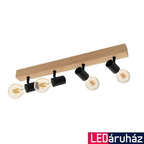 EGLO 98114 TOWNSHEND 3 Fali/mennyezeti lámpa, fekete, tölgy 4X E27 foglalattal, 63cm + ajándék LED fényforrás