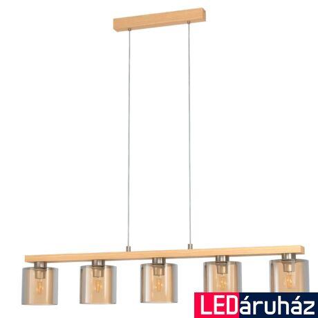 EGLO 98592 CASTRALVO Függesztett lámpa, fa, szürke, 5X E27 foglalattal, 121x110cm + ajándék LED fényforrás