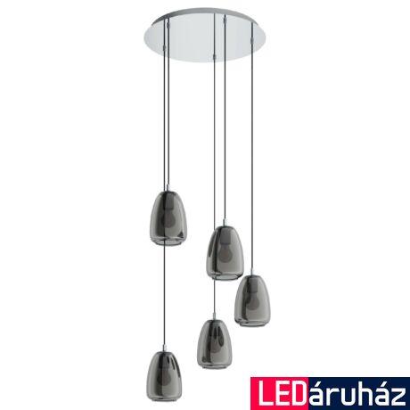 EGLO 98617 ALOBRASE Függesztett lámpa, füstös króm 5XE27 foglalattal, 54cm átmérő, 150cm hosszú + ajándék LED fényforrás