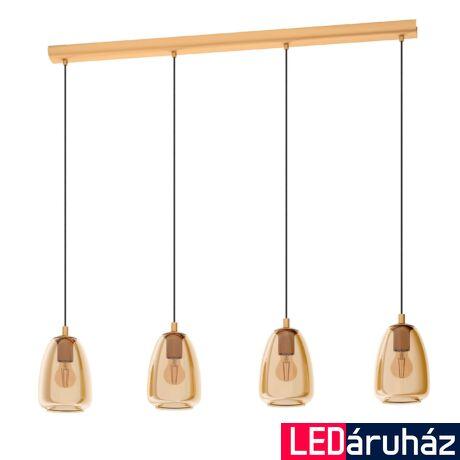 EGLO 98649 ALOBRASE Függesztett lámpa, füstös borostíán szín 4XE27 foglalattal, 100cm széles 100cm hosszú + ajándék LED fényforrás