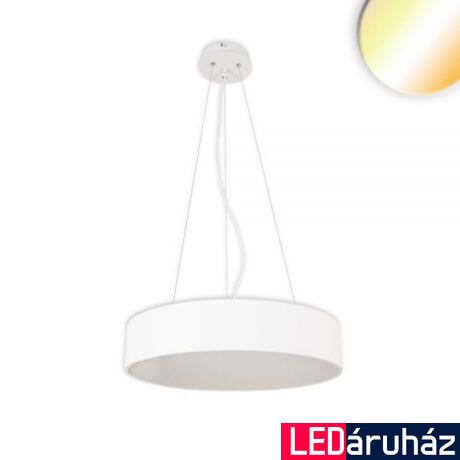 Kerek LED függeszték, 105W, 7550lm, ColorSwitch 3000-3500-4000K változtatható fehér, IP20, 120°, CRI80, fehér, 80cm átmérő, fényerőszabályozható