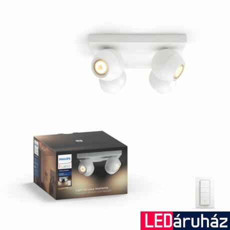 Philips Hue Buckram LED spotlámpa, fehér, változtatható színhőmérséklet 2200-6500K, 4x5.5W, 1000 lm, 5047131P12