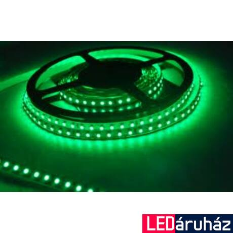 Zöld SMD LED szalag 12V 3528 , beltéri 120 LED/m, 9,6W, 2 év garancia