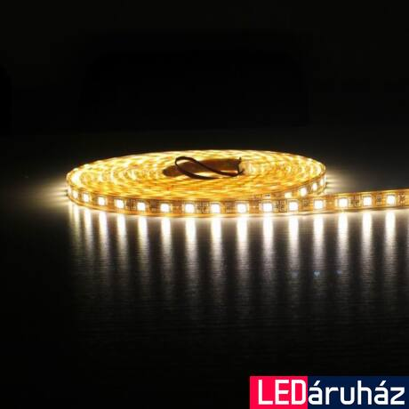 Melegfehér SMD LED szalag 12V 5050 , beltéri 60 LED/m, 14,4W, 3000K