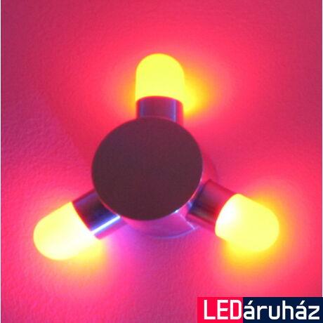 Falra szerelhető 3x1W LED dekorációs lámpa, piros