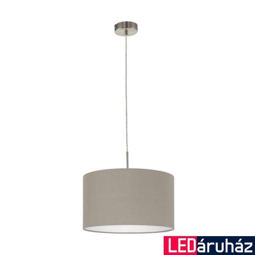 EGLO 31572 PASTERI Textil függesztett lámpa, 38cm, szürkésbarna, E27 foglalattal + ajándék LED fényforrás