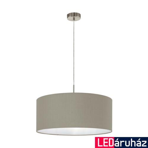 EGLO 31576 PASTERI Textil függesztett lámpa, 53cm, szürkésbarna, E27 foglalattal + ajándék LED fényforrás