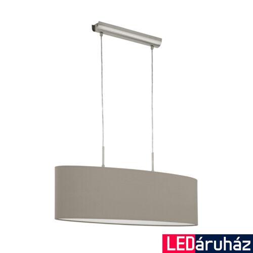 EGLO 31581 PASTERI Textil függesztett lámpa, 75cm, szürkésbarna, 2 db. E27 foglalattal + ajándék LED fényforrás