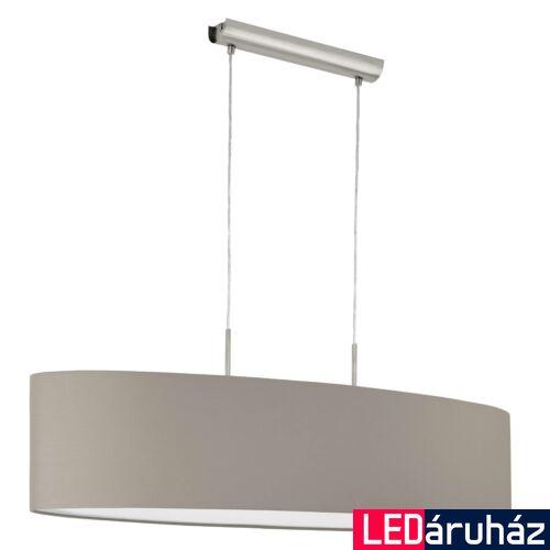 EGLO 31585 PASTERI Textil függesztett lámpa, 100cm, szürkésbarna, 2 db. E27 foglalattal + ajándék LED fényforrás