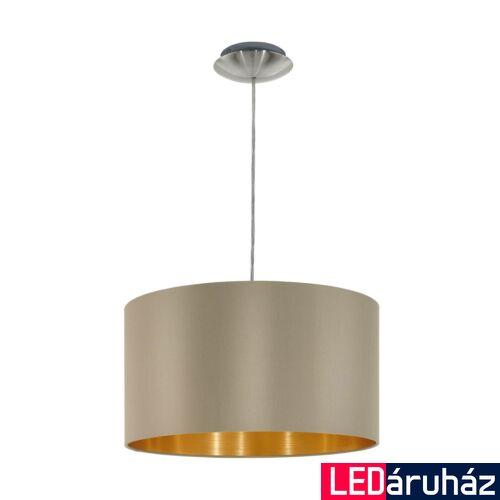 EGLO 31602 MASERLO Textil függesztett lámpa, 38cm, szürkésbarna, E27 foglalattal + ajándék LED fényforrás