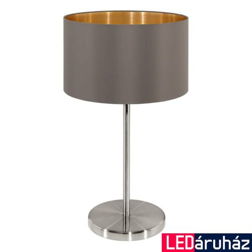 EGLO 31631 MASERLO Textil asztali lámpa, 23cm, cappuccino, E27 foglalattal + ajándék LED fényforrás
