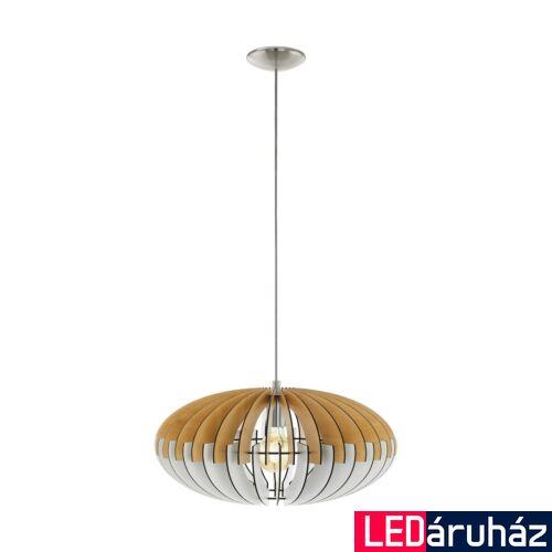 EGLO 32827 ARTANA Fa függesztett lámpa, 48cm, natúr fa/fehér, E27 foglalattal + ajándék LED fényforrás
