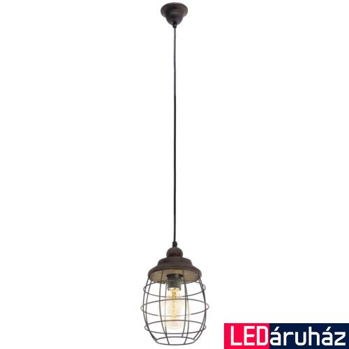 EGLO 49219 BAMPTON Vintage függesztett lámpa, 18cm, barna-patina, E27 foglalattal + ajándék LED fényforrás