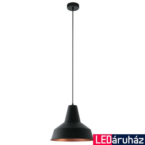 EGLO 49387 SOMERTON 1 ágú függeszték, fekete, E27 foglalattal, IP20 + ajándék LED fényforrás