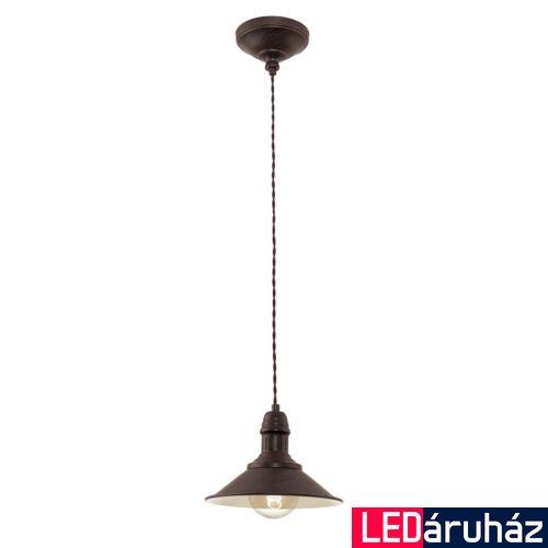 EGLO 49455 STOCKBURY Vintage függesztett lámpa, 21cm, antik barna, E27 foglalattal + ajándék LED fényforrás