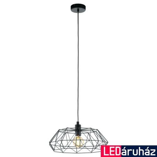 EGLO 49487 CARLTON 2 Vintage függesztett lámpa, 45,5cm, fekete, E27 foglalattal + ajándék LED fényforrás