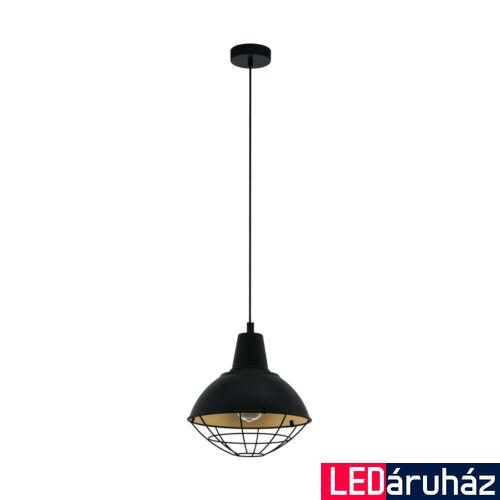 EGLO 49672 CANNINGTON Függesztett lámpa, E27 foglalattal, 31cm átmérő, fekete/arany, max. 1x60W + ajándék LED fényforrás