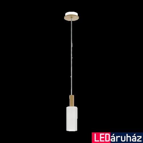 EGLO 49758 OAKHAM Fa/opál üveg függesztett lámpa, E27 foglalattal, 75cm hosszú, max. 1x40W