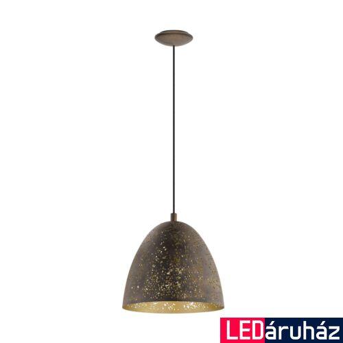 EGLO 49814 SAFI Vintage függesztett lámpa, 27,5cm, barna/arany, E27 foglalattal + ajándék LED fényforrás