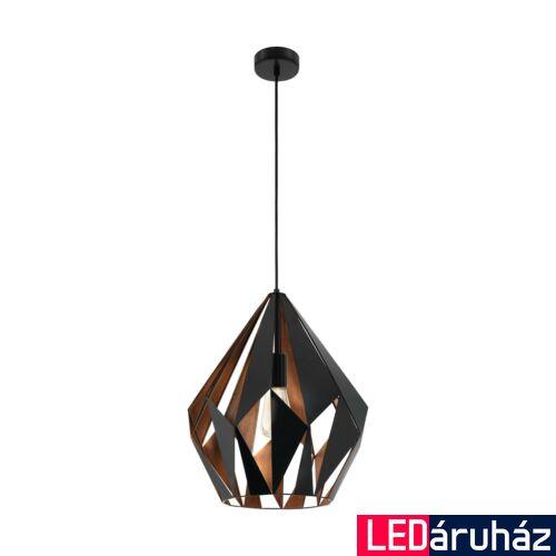 EGLO 49878 CARLTON 1 Vintage függesztett lámpa, 38,5cm, fekete/réz, E27 foglalattal + ajándék LED fényforrás