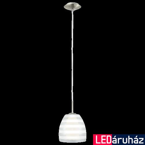 EGLO 88853 FARGO Matt nikkel/fehér függeszték, E27 foglalattal, 20,6cm átmérő, 110cm, 1x60W + ajándék LED fényforrás