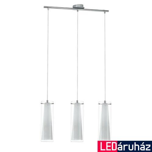 EGLO 89833 PINTO Dupla búrás hármas függeszték, üveg/opál üveg bura, áttetsző/fehér szín, 72,5cm hossz, 3 db E27 foglalat + ajándék LED fényforrás
