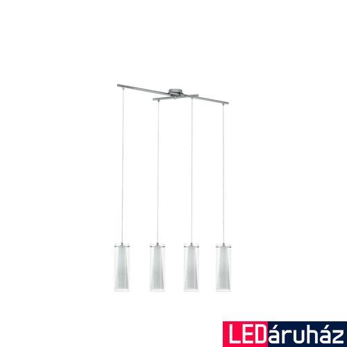 EGLO 89834 PINTO Dupla búrás négyes függeszték, üveg/opál üveg bura, áttetsző/fehér szín, 90,5cm hossz, 4 db E27 foglalat + ajándék LED fényforrás