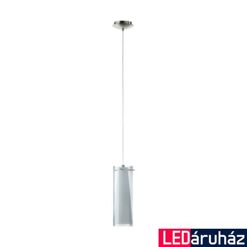 EGLO 90304 PINTO NERO Dupla búrás egyágú függeszték, füstüveg/opál üveg bura, fekete-áttetsző/fehér szín, 11cm átmérő, E26 + ajándék LED fényforrás