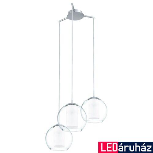 EGLO 92762 BOLSANO Dupla üvegbúrás háromágú függeszték, szatén/átlátszó 50,5cm átmérő, 3 db E27 foglalat + ajándék LED fényforrás