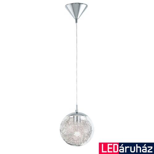 EGLO 93073 LUBERIO Acél/króm/üveg/alumínium függeszték, 25cm átmérő, 110cm, E27 foglalattal + ajándék LED fényforrás