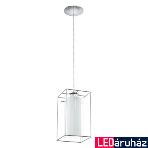 EGLO 94377 LONCINO 1 Króm/fehér függeszték, 15x110cm, 1x60W, E27 foglalat + ajándék LED fényforrás