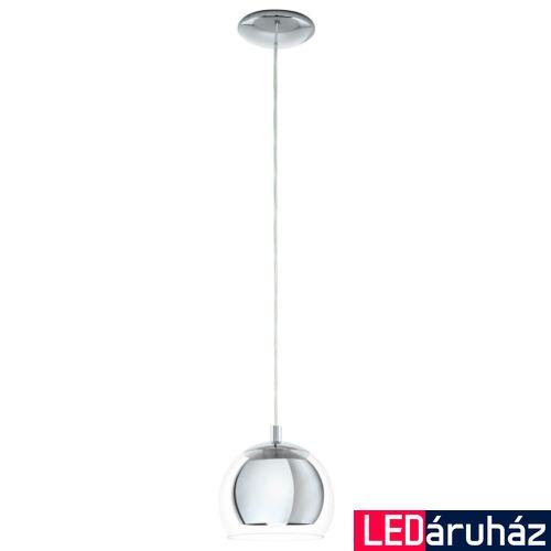 EGLO 94592 ROCAMAR Króm/átlátszó burával függeszték, E27 foglalattal, 19x110cm, 60W + ajándék LED fényforrás
