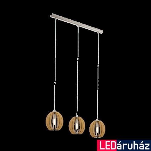 EGLO 94769 COSSANO Fa függesztett lámpa, 79cm, juhar, 3 db. E14 foglalattal + ajándék LED fényforrás