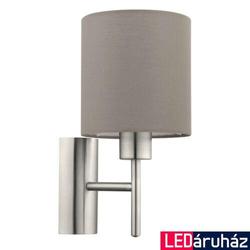 EGLO 94925 PASTERI fali lámpa, kapcsolóval, szürke, E27 foglalattal, IP20 + ajándék LED fényforrás