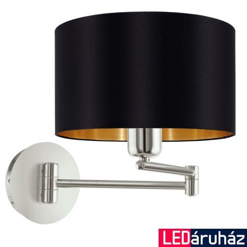 EGLO 95054 MASERLO fali lámpa, kapcsolóval, fekete, E27 foglalattal, IP20 + ajándék LED fényforrás