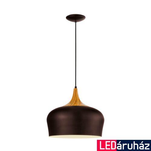 EGLO 95385 OBREGON Barna/tölgy függeszték, E27 foglalattal, 35cm átmérő, 110cm, 1x60W + ajándék LED fényforrás